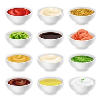 Set verschiedene saucen in schalen