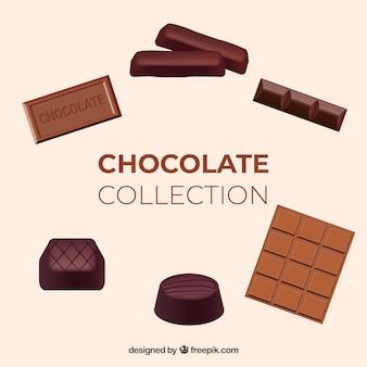 Set verschiedene schokoladensüßigkeiten