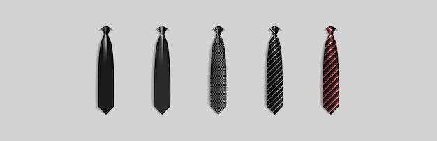 Set verschiedene schwarze krawatten auf grauem hintergrund isoliert farbige krawatte für männer