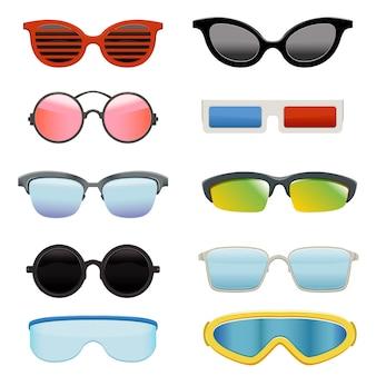 Set verschiedene sonnenbrillen Premium Vektoren
