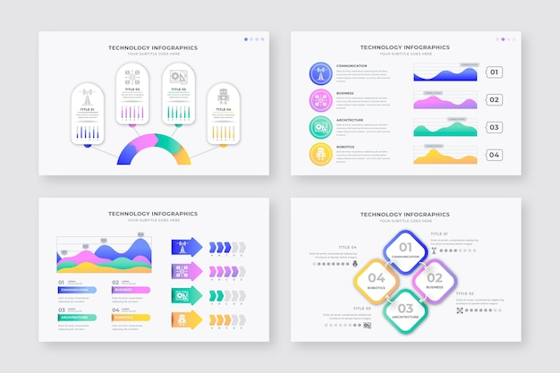 Set verschiedene technologie infografik