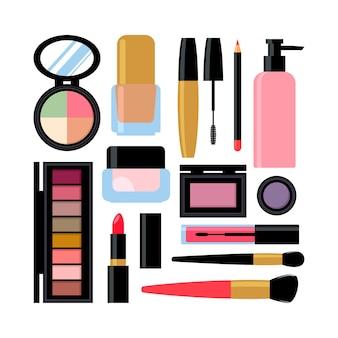 Set verschiedener kosmetischer produkte. nagellack, mascara, lippenstift, lidschatten, pinsel, puder, lipgloss.