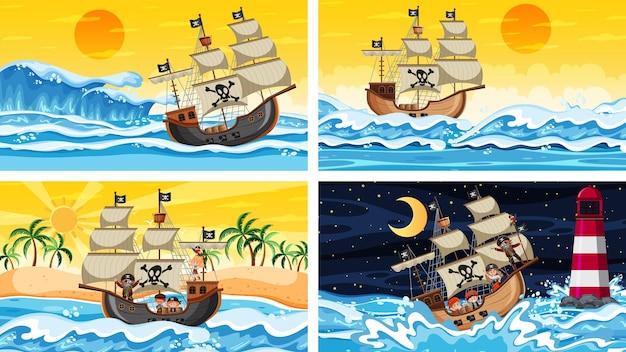 Set verschiedener strandszenen mit piratenschiff und piratenzeichentrickfigur