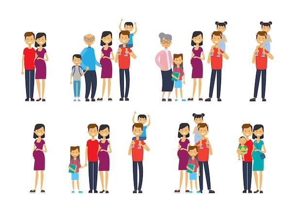 Set vielfalt stellt großeltern eltern enkelkinder, multi-generationen-familie,