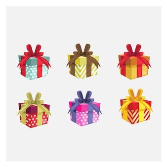 Set vielzahlgeschenkkästen. bunte geschenkbox.