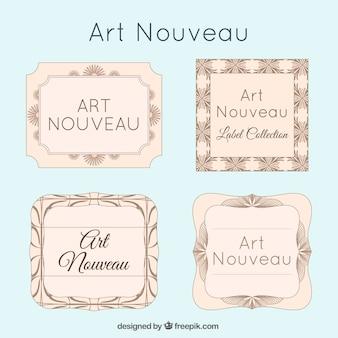 Set vintage art nouveau-etiketten