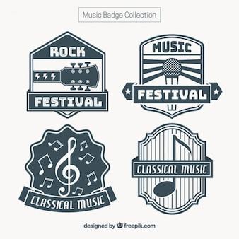 Set vintage aufkleber musik