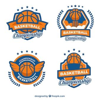 Set vintage basketball-abzeichen