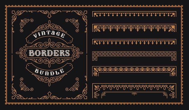 Set vintage-bordüren im viktorianischen stil, perfekt für die verpackung von alkoholetiketten und viele andere zwecke.