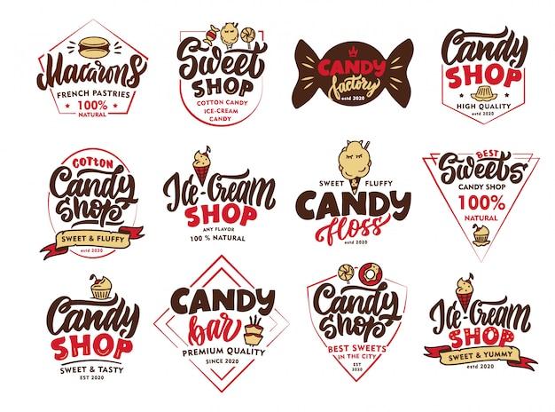 Set vintage candy embleme und briefmarken. bunte sweet shop abzeichen, vorlagen, aufkleber