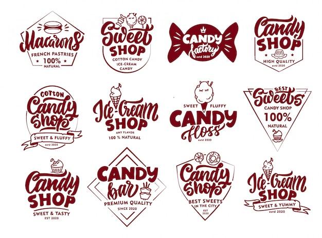 Set vintage candy embleme und briefmarken. süßwarenladen abzeichen, aufkleber isoliert.