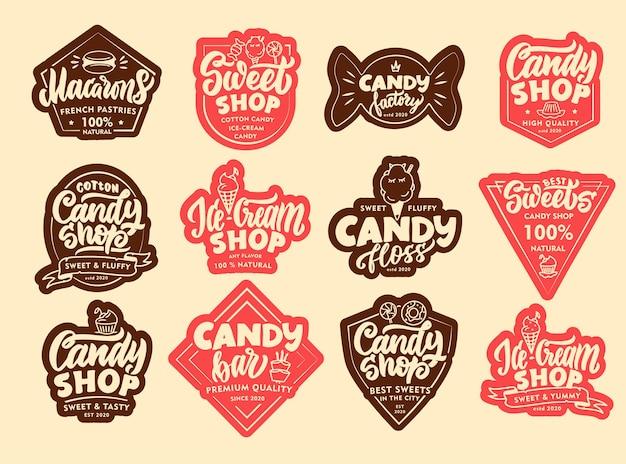 Set vintage candy embleme und patches. süßwarenladenabzeichen, aufkleber. handgezeichneter text, sätze.
