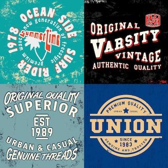 Set vintage design print für t-shirt stempel
