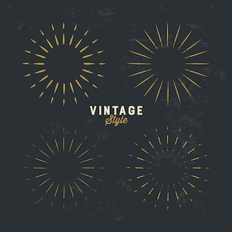 Set vintage gold sunburst gestaltungselement