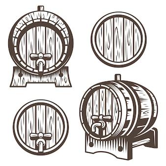 Set vintage holzfässer in verschiedenen verkürzungen. monochromer stil. auf weißem hintergrund isoliert