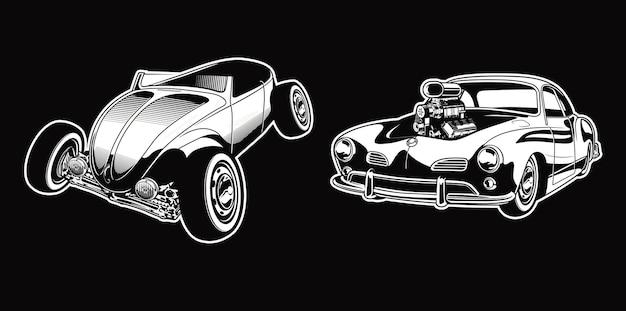 Set vintage hotrod in einfarbigen autos im retro-stil premium-vektor