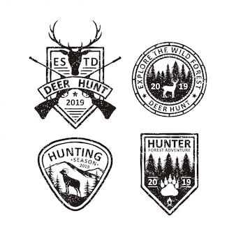 Set vintage jagd abzeichen etiketten, embleme und logo