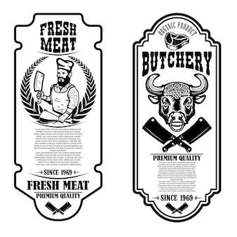 Set vintage metzgerei und fleischgeschäft flyer