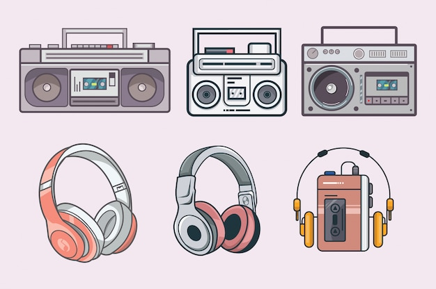 Set vintage radio und kopfhörer
