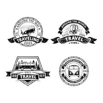 Set vintage reisende abzeichen