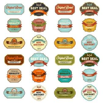 Set vintage retro-etiketten