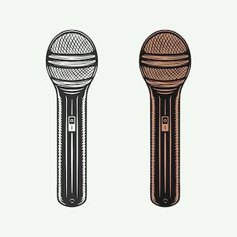 Set vintage retro-mikrofone kann für logo-emblem oder abzeichen-design verwendet werden