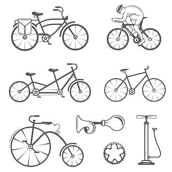 Set vintage zeichen und silhouette fahrrad und radsport