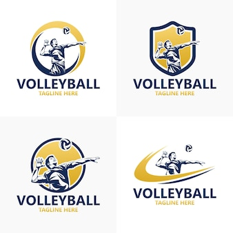 Set volleyball logo set