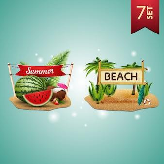 Set volumetrische ikonen des sommers 3d für ihre künste