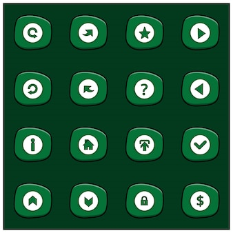 Set von 16 mix white icons auf abgerundeten grünen rechteck auf dunkelgrünem hintergrund cartoon style