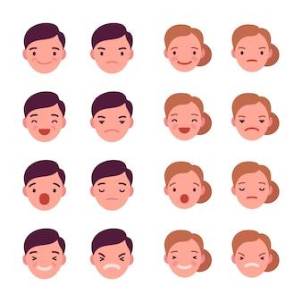 Set von 16 verschiedenen emotionen