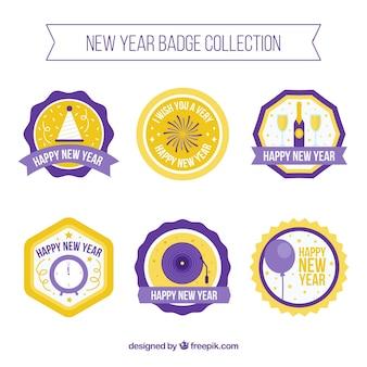 Set von 2018 neujahr dekorative abzeichen in flaches design
