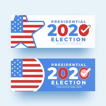 Set von 2020 uns präsidentschaftswahl banner