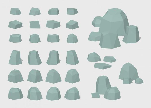 Set von 3d lowpoly felsen und steinen