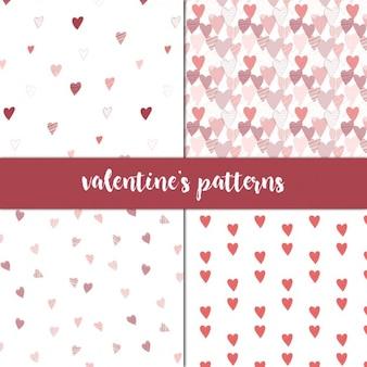Set von 4 nahtlose muster für den valentinstag
