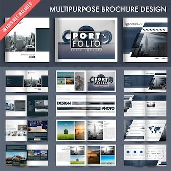 Set von 5 mehrseiten-broschüren mit deckblatt-design.