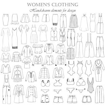Set von 55 handgezeichneten elementen einer damenbekleidung für design. schwarzweiss-vektorillustration.