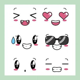 Set von 6 designs von kawaii ausdrücken