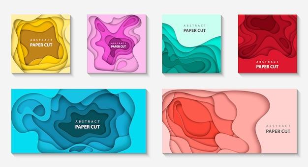 Set von 6 hintergründen mit unterschiedlichem papierschnitt