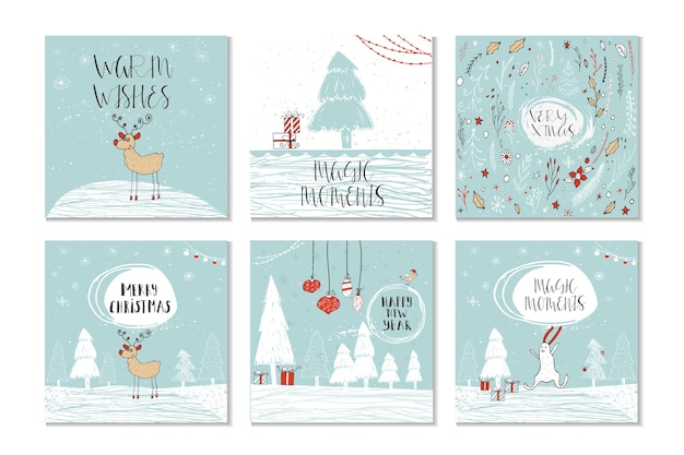 Set von 6 niedlichen weihnachtsgeschenkkarten mit zitat frohe weihnachten