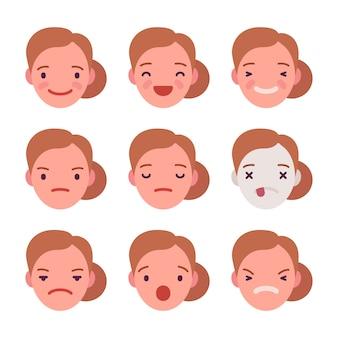 Set von 9 verschiedenen emotionen