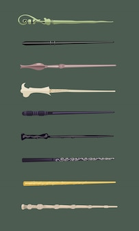 Set von 9 verschiedenen zauberstäben für hexen und zauberer vintage sticks hexerei schulen fantasy-spiele Premium Vektoren