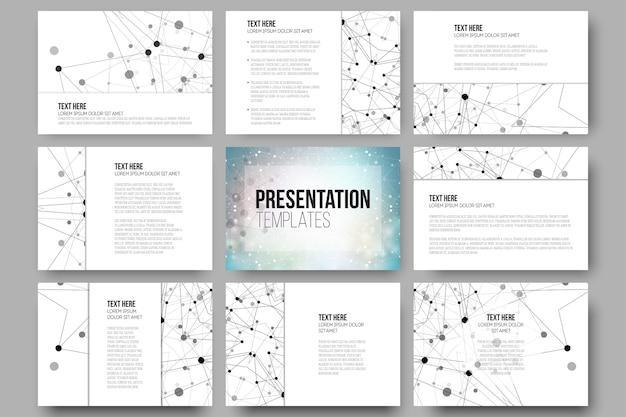 Set von 9 vorlagen für präsentationsfolien