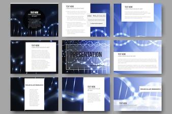 Set von 9 Vorlagen für Präsentationsfolien. DNA-Molekülstruktur auf dunklem Hintergrund.