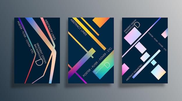 Set von abstraktem hintergrunddesign mit linearer farbverlaufsstruktur für tapeten, flyer, poster, broschürencover, typografie oder andere druckprodukte. vektor-illustration.