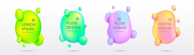 Set von abstrakten 3d-flüssigkeitsformabzeichen mit farbverlauf in pastellfarben isoliert auf weißem hintergrund