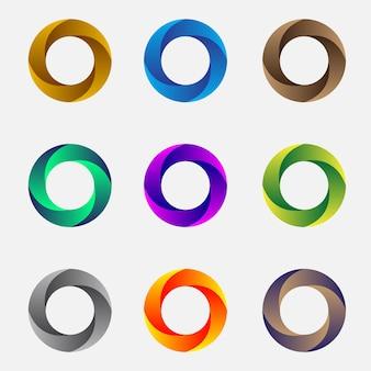 Set von abstrakten 3d-objektiven und kreisen vektor-illustration