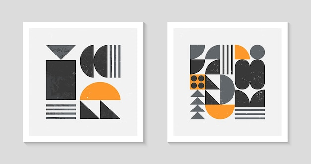 Set von abstrakten bauhaus-geometrischen musterhintergründen. trendiges minimalistisches geometrisches design mit einfachen formen und elementen. moderne künstlerische vektorgrafiken aus der mitte des jahrhunderts. skandinavische ornamente.