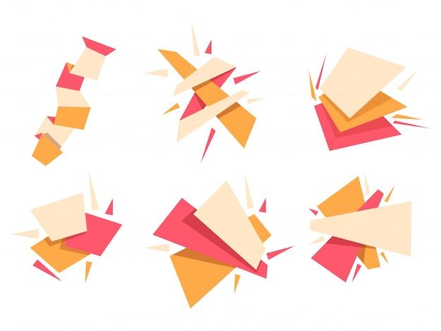 Set von abstrakten geometrischen elementen in sechs verschiedenen formen und effekten.