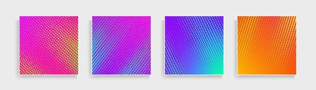 Set von abstrakten punktmustern mit rosa, blau, lila, orange, gelb leuchtendem farbhintergrund